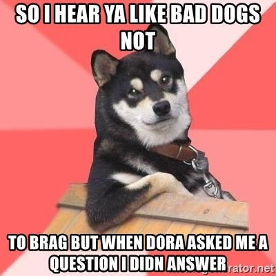 Cool Dog - SO I HEAR YA LIKE BAD DOGS NOT TO BRAG BUT WHEN DORA ASKED ME A QUESTION I DIDN ANSWER