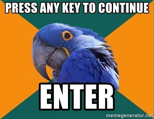 Paranoid Parrot - Press any key to continue enter