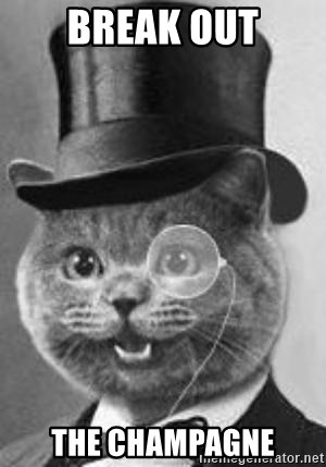 Monocle Cat - break out the champagne