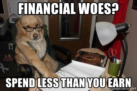 Financial advisor dog - Financial Woes? Spend less than you Earn