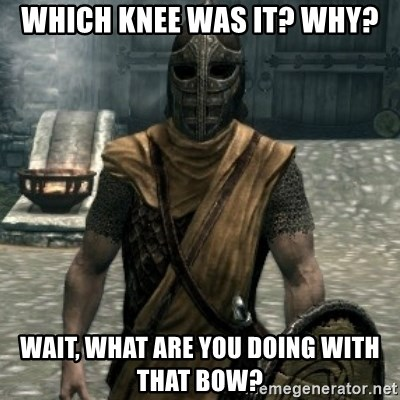 skyrim whiterun guard - which knee was it? why? wait, what are you doing with that bow?