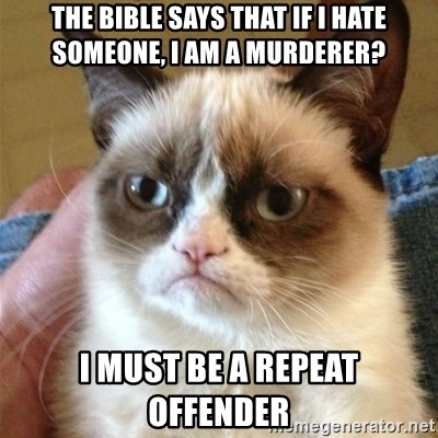 Grumpy Cat  - The Bible says that if I hate someone, i am a murderer? I must be a repeat offender