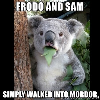 Koala can't believe it - frodo and sam simply walked into mordor