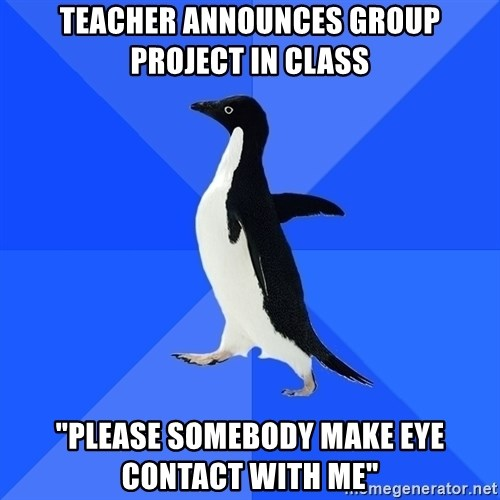 "Socially Awkward Penguin - teacher announces group project in class ""please somebody make eye contact with me"""
