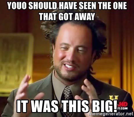 Ancient Aliens - youo should have seen the one that got away it was this big!