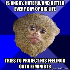 MRA Marmoset - is angry, hateful and bitter every day of his life tries to project his feelings onto feminists
