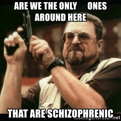 am i the only one around here - are we the only      ones around here that are schizophrenic