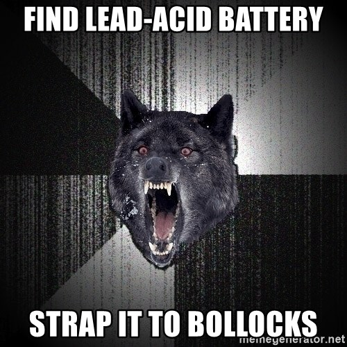 Insanity Wolf - find lead-acid battery strap it to bollocks