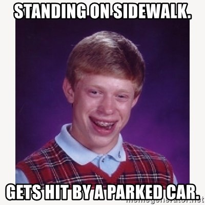 nerdy kid lolz - STANDING ON SIDEWALK. GETS HIT BY A PARKED CAR.