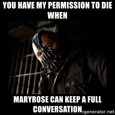 Bane Meme - YOU HAVE MY PERMISSION TO DIE WHEN  MARYROSE CAN KEEP A FULL CONVERSATION