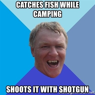 YAAZZ - catches fish while camping shoots it with shotgun