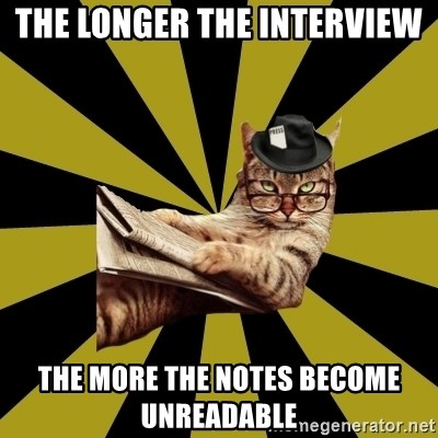 Frustrated Journalist Cat - The longer the interview the more the notes become unreadable