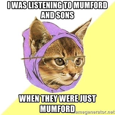 Hipster Kitty - I WAS LISTENING TO MUMFORD AND SONS WHEN THEY WERE JUST MUMFORD