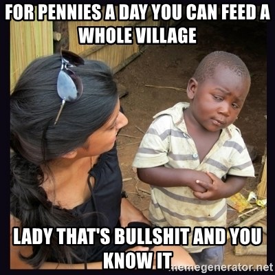 Skeptical third-world kid - for pennies a day you can feed a whole village lady that's bullshit and you know it
