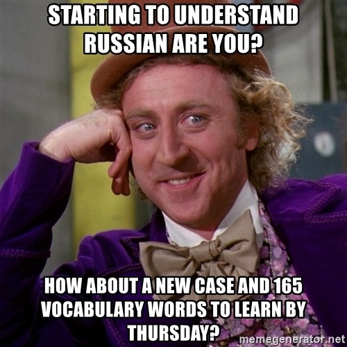 Willy Wonka - Starting to understand Russian Are you? How about a new case and 165 vocabulary Words to learn By Thursday?