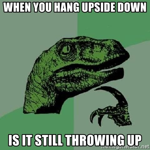 Philosoraptor - when you hang upside down is it still throwing up
