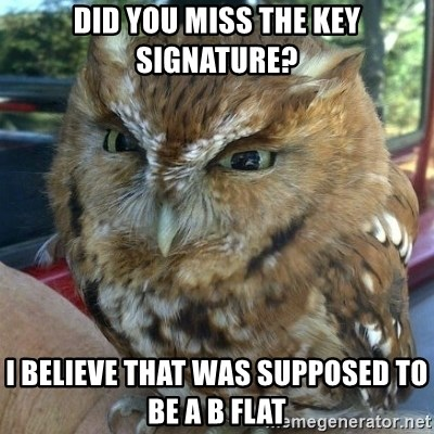 Overly Angry Owl - Did you miss the Key signature? I believe that was supposed to be a b flat