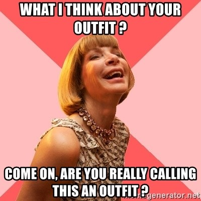 Amused Anna Wintour - What I think about your outfit ? come on, are you really calling this an outfit ?