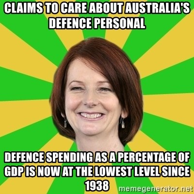 Julia Gillard - Claims to care about Australia's defence personal defence spending as a percentage of GDP is now at the lowest level since 1938
