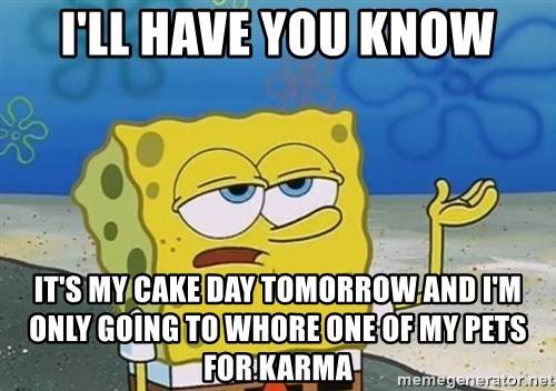 I'll have you know Spongebob - I'll have you know IT'S MY CAKE DAY TOMORROW AND I'M ONLY GOING TO WHORE ONE OF MY PETS FOR KARMA