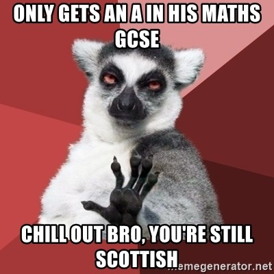 Chill Out Lemur - ONLY GETS AN A IN HIS MATHS GCSE CHILL OUT BRO, YOU'RE STILL SCOTTISH