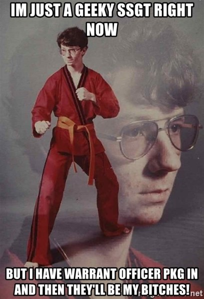 PTSD Karate Kyle - IM JUST A GEEKY SSGT RIGHT NOW BUT I HAVE WARRANT OFFICER PKG IN AND THEN THEY'LL BE MY BITCHES!