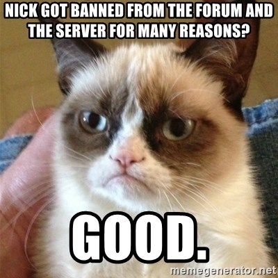 Grumpy Cat  - nick got banned from the forum and the server for many reasons? good.