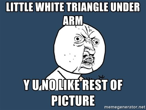 Y U No - little white triangle under arm y u no like rest of picture