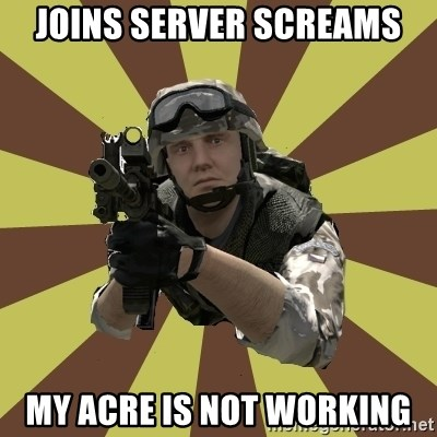 Arma 2 soldier - joins server screams my acre is not working