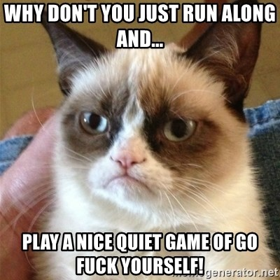 Grumpy Cat  - Why don't you just run along and... PlaY a nice quiEt game of go fuck yourself!