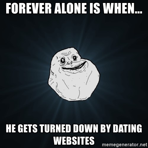 Forever Alone - Forever alone is when... he gets turned down by dating websites