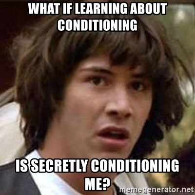 Conspiracy Keanu - what if learning about conditioning is secretly conditioning me?