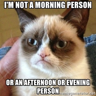 Grumpy Cat  - I'm not a morning person or an afternoon or evening person