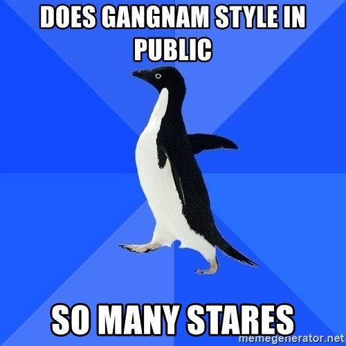 Socially Awkward Penguin - does gangnam style in public so many stares