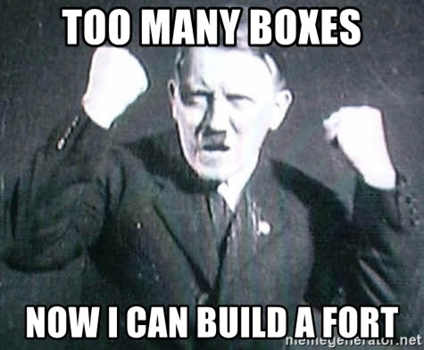 Successful Hitler - Too Many Boxes Now I Can Build a fort