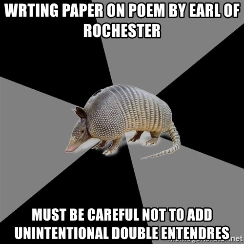 English Major Armadillo - wrting paper on poem by earl of Rochester must be careful not to add unintentional double entendres