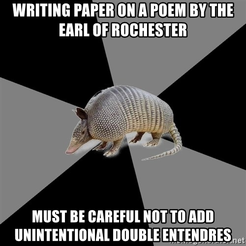 English Major Armadillo - writing paper on a poem by the earl of rochester must be careful not to add unintentional double entendres