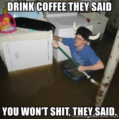 laundry room viking 2012 - Drink coffee they said You won't shit, they said.
