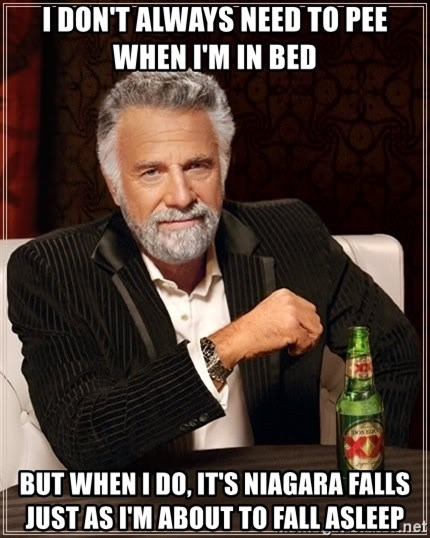 The Most Interesting Man In The World - I don't always need to pee when I'm in bed But when I do, it's Niagara falls just as I'm about to fall asleep