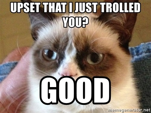Angry Cat Meme - uPSET THAT I JUST TROLLED YOU? gOOD