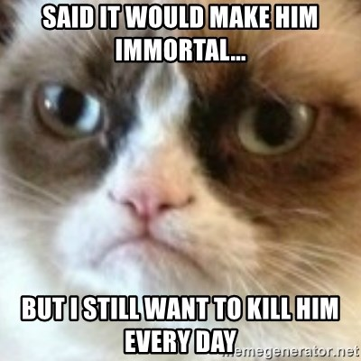 angry cat asshole - SAID IT WOULD MAKE HIM IMMORTAL... bUT I STILL WANT TO KILL HIM EVERY DAY