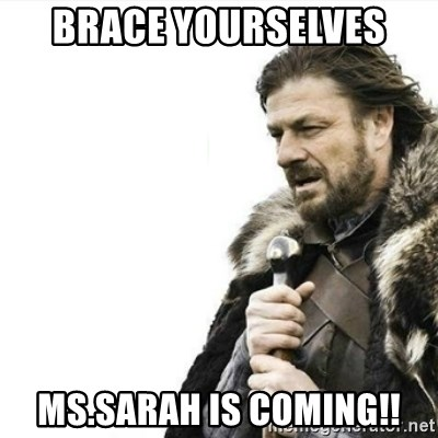 Prepare yourself - brace yourselves  ms.sarah is coming!!
