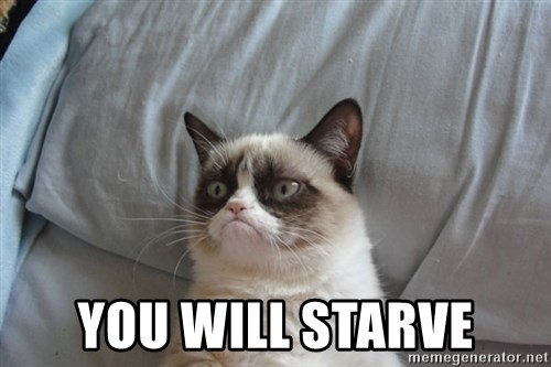 Grumpy cat good -  you will starve