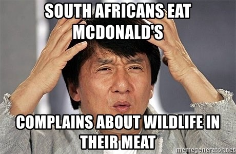 Jackie Chan - South Africans eat McDonald's Complains about wildlife in their meat
