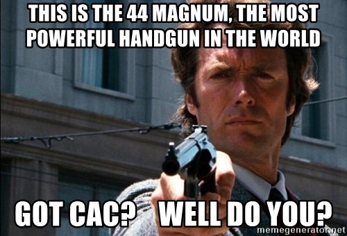 Dirty Harry - This is the 44 magnum, the most powerful handgun in the world Got CAC?    well do you?