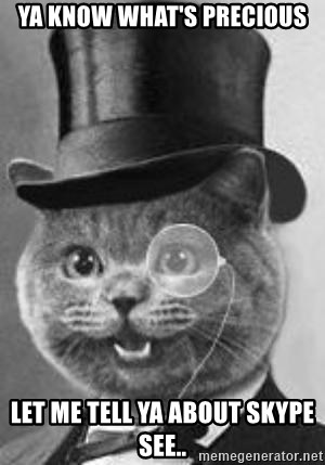 Monocle Cat - ya know what's precious Let me tell ya about skype see..