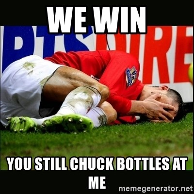 cristiano ronaldo crying - we win you still chuck bottles at me