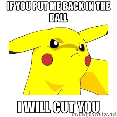 Pikachu - If you put me back in the ball I will cut you