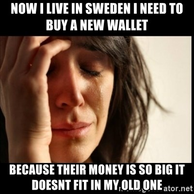 First World Problems - Now i live in sweden I need to buy a new wallet because their money is so big it doesnt fit in my old one