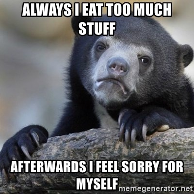 Confession Bear - Always i eat too much Stuff Afterwards i Feel sorry for myself